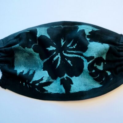 Hand printed turquoise hibiscus mask