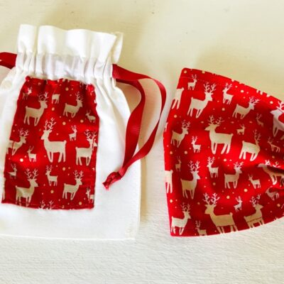 Red reindeer mask and bag
