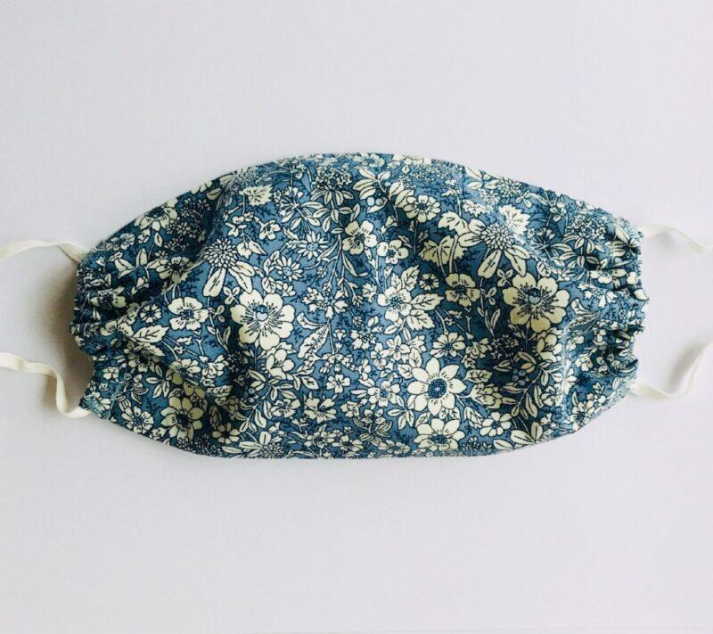 Blue floral patterned mask