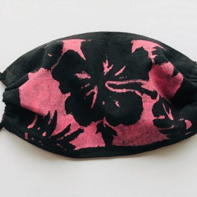 Hand printed pink hibiscus mask