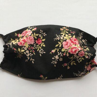 Black floral pattern mask