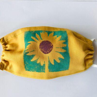 Hand printed yellow sunflower mask
