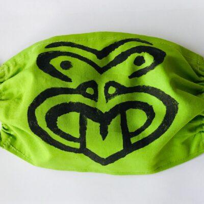 Hand printed green Tiki mask