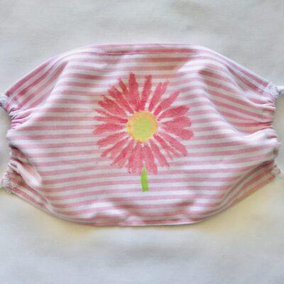 Pink gerbera on pink striped cotton mask